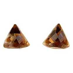 Small Costume Jewellery Studs Rubber Stoppers, Fashion Women Girls Accessories, Brown Triangle Plastic Pin Stud Earrings
