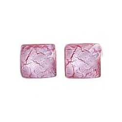 Pink & Red Square Plastic Pin Stud Earrings
