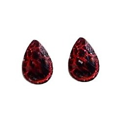 Small Costume Jewellery Studs Rubber Stoppers, Fashion Women Girls Accessories, Black & Red Teardrop Plastic Pin Stud Earrings