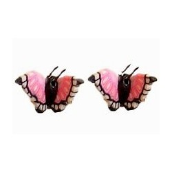 Small Costume Jewellery Studs Rubber Stoppers, Cute Girls Women Accessories, Pink & Black 3D Butterfly Plastic Pin Stud Earrings