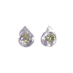 Small Costume Jewellery Earring Studs, Classic Accessories, Fashion Women Girls Gift, Green Diamante Teardrop Stud Earrings