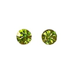 Simple Small Tiny Costume Jewellery Mini Earring Studs, Fashion Women Girls Accessories, Lime Green Diamante 6mm Stud Earrings