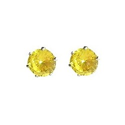Simple Small Tiny Costume Jewellery Mini Earring Studs, Fashion Women Girls Accessories, Yellow Diamante 7mm Stud Earrings