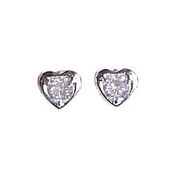 Small Tiny Costume Jewellery Earring Studs, Fashion Women Girls Accessories, Simple Classic Clear Diamante Heart Stud Earrings