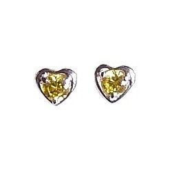 Small Costume Jewellery Mini Earring Studs, Fashion Women Girls Accessories, Simple Yellow Diamante Heart Stud Earrings