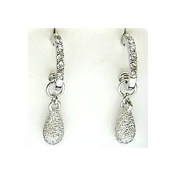 Modern Costume Jewellery Dress Accessories, Fashion Women Gift, Silver Glitter Teardrop Clear Diamante Semi Oval Hoop Earrings