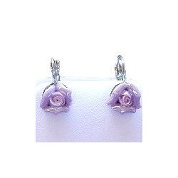 Simple Costume Jewellery Accessories, Fashion Women Girls Small Gift, Purple Clay Flower 3D Ceramic Rose Dainty Drop Earrings