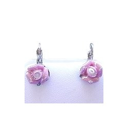 Simple Costume Jewellery Accessories, Fashion Women Girls Small Gift, Pink Clay Flower 3D Ceramic Rose Dainty Drop Earrings