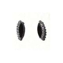 Small Costume Jewellery Earring Studs, Fashion Women Girls Accessories, Black Navette & Clear Diamante Teardrop Stud Earrings