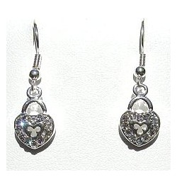 Costume Jewellery Accessories, Fashion Women Girls Small Gift, Short Dangle Clear Diamante Heart Lock Dainty Drop Earrings