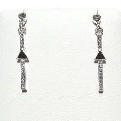 Costume Jewellery Accessories, Fashion Women Girls Small Gift, Dainty Dangle Clear Diamante Black Arrow Short Drop Earrings