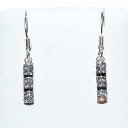 Costume Jewellery Accessories, Fashion Women Girls Small Gift, Short Dangle Mini Clear Diamante Bar Dainty Drop Earrings
