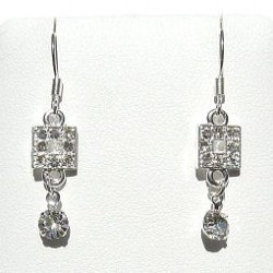 Costume Jewellery Accessories, Fashion Women Girls Small Gift, Dainty Dangle Clear Diamante Geometric Short Drop Earrings