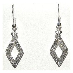 Costume Jewellery Accessories, Fashion Women Girls Small Gift, Short Dangle Clear Diamante Open Rhombus Short Drop Earrings