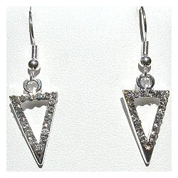 Costume Jewellery Accessories, Fashion Women Girls Small Gift, Short Dangle Clear Diamante Open Triangle Short Drop Earrings