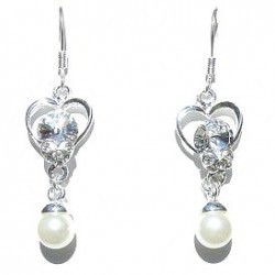 Clear Diamante Silver Open Heart White Pearl Drop Earrings
