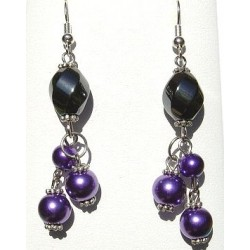 Handcrafted Costume Jewellery Accessories, Fashion Women Girlls Gift, Purple Pearl Haematite Natural Stone Bead Drop Earrings