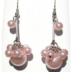 Handcrafted Classic Costume Jewellery Accessories, Fashion Women Girlls Small Gifts, Pink Faux Pearl Cluster Drop Earrings