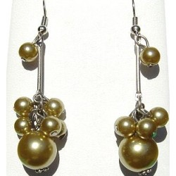 Handcrafted Classic Costume Jewellery Accessories, Fashion Women Girls Small Gifts, Gold Faux Pearl Cluster Drop Earrings