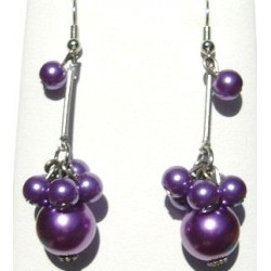 Handcrafted Classic Costume Jewellery Accessories, Fashion Women Girls Small Gifts, Purple Faux Pearl Cluster Drop Earrings