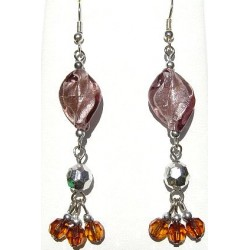 Handcrafted Costume Jewellery Accessories, Fashion Women Girls Gift, Dusky Purple Twisted Glass Bead Drop Earrings