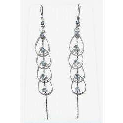 Chic Fashion Costume Jewellery Accessories, Wome Girls Small Gifts, Clear Diamante Teardrop Statement Long Drop Earrings