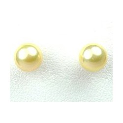 Simple Costume Jewellery, Small Yellow Fashion Pearl 6mm Stud Earrings