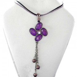 Costume Jewellery Accessories, Fashion Women Dainty Small Gift, Purple Diamante Luck Flower Lilac Pearl Drop Cord Necklace