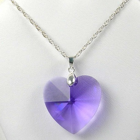 Fashion Women Costume Jewellery, Large Purple Crystal Heart 3cm Pendant & Sterling Silver 925 Chain Necklace