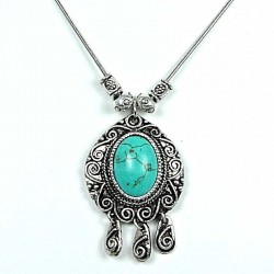 Natural Stone Costume Jewellery, Anniversary, Mum, Mother Gift, Oval Turquoise Vintage Silver Teardrop Dangling Ethnic Tribal Ne