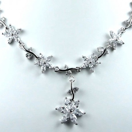 Bridal Jewellery Wedding Gift, Clear Cubic Zirconia CZ Crystal Flower Dress Necklace