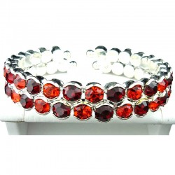 Red & Ruby Double Row Diamante Open Ended Bangle Bracelet