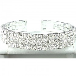 Fashion Wedding Jewellery; Clear Triple Row Diamante Open Ended Bangle Costume Bracelet