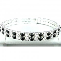 Fashion Black & Clear Double Row Diamante Open Ended Bangle, Costume Jewellery Bracelet