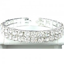 Clear Double Row Diamante Open Ended Fashion Bangle, Costume Jewellery Bracelet