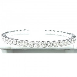 Clear Diamante Open-Ended Slim Bangle Bracelet