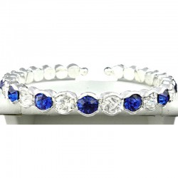 Royal Blue & Clear Diamante Open Ended Slim Bangle Bracelet