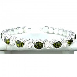 Olive Green & Clear Diamante Open Ended Slim Bangle Bracelet