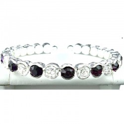 Purple & Clear Diamante Open Ended Slim Bangle Bracelet