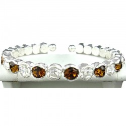 Brown & Clear Diamante Open Ended Slim Bangle Bracelet