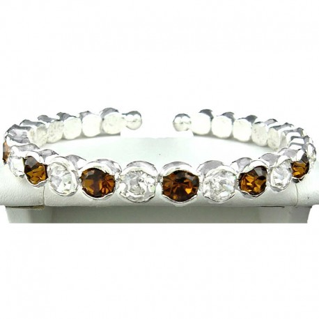 Brown & Clear Diamante Open Ended Slim Costume Bangle, Fashion Jewellery Bracelet