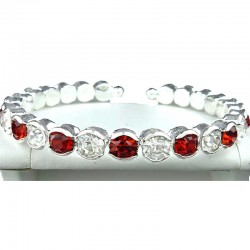 Red & Clear Diamante Open Ended Slim Fashion Bangle, Costume Jewellery Bracelet
