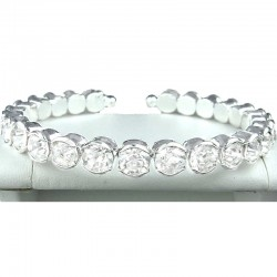 Clear Diamante Open Ended Slim Fashion Bangle, Costume Jewellery Bracelet