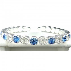 Blue & Clear Diamante Open Ended Slim Fashion Bangle, Costume Jewellery Bracelet