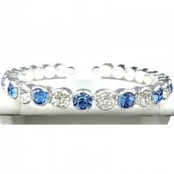 Blue & Clear Diamante Open Ended Slim Fashion Bangle, Costume Jewellery Bracelet
