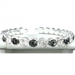 Grey & Clear Diamante Open Ended Slim Fashion Bangle, Costume Jewellery Bracelet