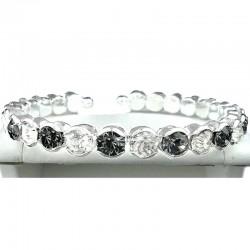 Grey & Clear Diamante Open Ended Slim Fashion Bangle, Costume Jewellery Bracelet