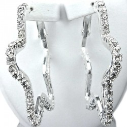 Chic Costume Jewellery, Fashion Dressy Clear Diamante Star Shaped Medium Leverback Hoop Earrings