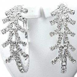 Costume Jewellery, Fashion Clear Diamante Snowflake Medium 40mm Leverback Hoop Earrings