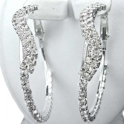 Costume Jewellery, Fashion Clear Diamante Elegant Wave Medium 42mm Leverback Hoop Earrings